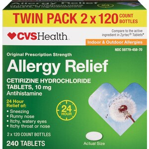 CVS Health Indoor/Outdoor 24-Hour Allergy Relief Cetirizine Hydrochloride Tablets Twin Pack, 120 CT
