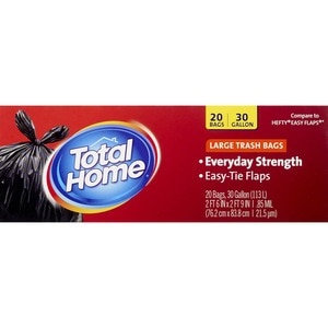 Total Home by CVS  Large Trash Bags, Extra Strong Easy-Tie Flaps Gallon