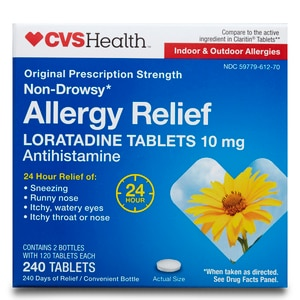 CVS Health Allergy Relief Non-Drowsy Loratadine Tablets 10mg, 240CT