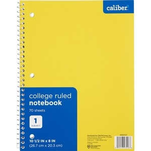 Caliber 1 Subject Notebook, Assorted Colors