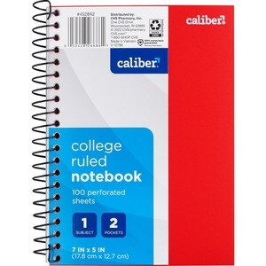 "Caliber 1 Subject Notebook College Ruled, 7"" x 5"""