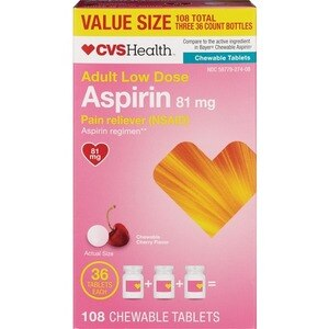 CVS Adult Low Dose Aspirin 81 Mg Chewable Tablets Cherry