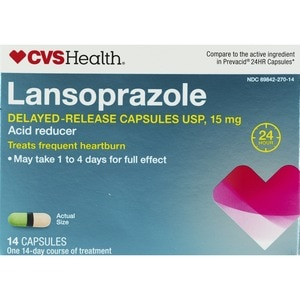CVS Health Acid Reducer Lansoprazole Delayed-Release Capsules 15mg, 42CT