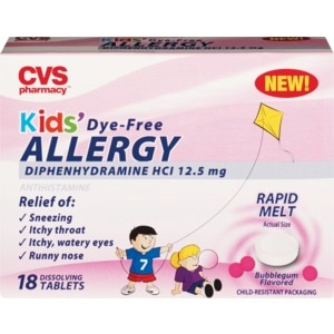 CVS Health Kids Dye-Free Allergy Dissolving Tablets, 18CT