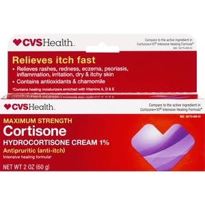 CVS Health Maximum Strength Cortisone Intense Healing Anti-Itch Cream, 2 OZ