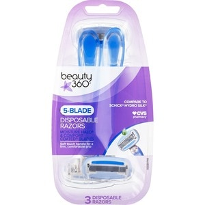 Beauty 360 5 Blade Moisture Halo and Comfort Coated Blades Disposable Razors, 3CT