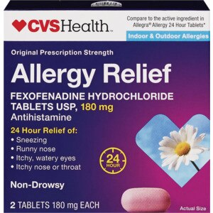 CVS Health Original Prescription Strength Allergy Relief Tablets, 2 CT