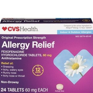 CVS Health Original Prescription Strength Allergy Relief Fexofenadine Hydrochloride Tablets, 24 CT