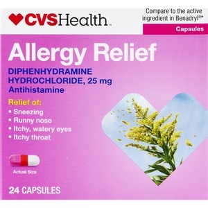 CVS Health Allergy Relief Diphenhydramine HCl Capsules, 24 CT