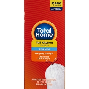 Total Home 13 Gallon Tall Kitchen Trash Bags, Fresh Scent, 45 Bags