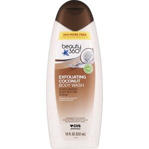 Beauty 360 Moisture And Exfoliating Body Wash Scrub Coconut Butter, 18 OZ