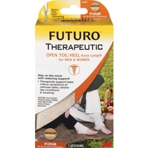 FUTURO Therapeutic Open Toe Knee Length Stockings for Men and Women, Beige