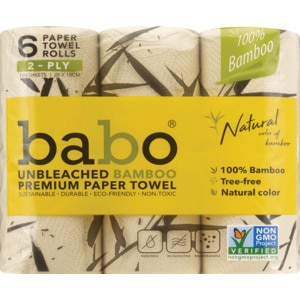 Babo Unbleached Bamboo Premium Paper Towels, 6 Rolls