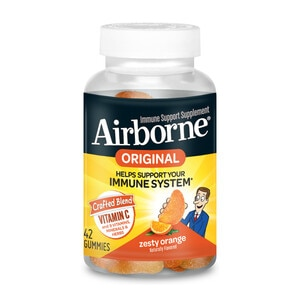Airborne Zesty Orange Flavored Gummies, 42 count - 750mg of Vitamin C and Minerals & Herbs Immune Support (Packaging May Vary)