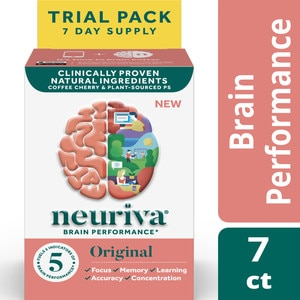 NEURIVA Original Brain Performance, Brain Support Supplement With Clinically Proven Natural Ingredients, 7 CT