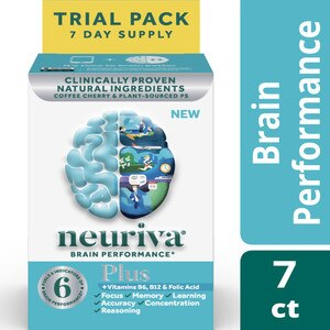 NEURIVA Plus Brain Performance, Brain Support Supplement With Clinically Proven Natural Ingredients (Coffee Cherry & Plant Sourced PS), 7 CT