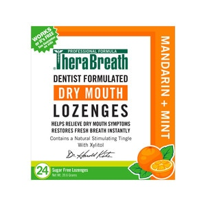 TheraBreath Sugar-Free Dry Mouth Lozenges Mandarin Mint, 24CT