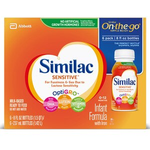 Similac Sensitive For Fussiness and Gas Infant Formula  Ready-to-Feed 8 fl oz, 6CT