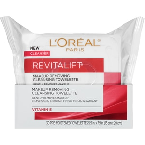 L'Oreal Paris RevitaLift Radiant Smoothing Wet Cleansing Towelettes, 30/Pack