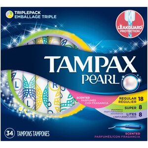 Tampax Pearl Triple Pack (Light/Regular/Super) Plastic Tampons, Scented, 34 Count