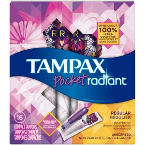 Tampax Pocket Radiant Regular Unscented Compact Tampons, 16CT