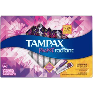 Tampax Pocket Radiant Regular Unscented Compact Tampons, 32CT