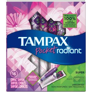 Tampax Pocket Radiant Super Unscented Compact Tampons, 16CT