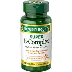 Nature's Bounty Super B Complex with Folic Acid plus Vitamin C Tablets, 150CT