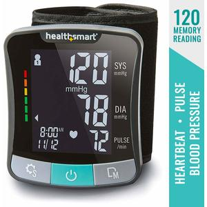 HealthSmart Premium Talking Automatic Digital Wrist Blood Pressure Monitor, Black and Gray