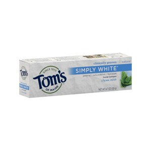 Tom's of Maine Clinically Proven Simply White Fluoride Toothpaste Clean Mint