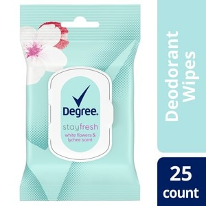 Degree Stay Fresh On-The-Go White Flowers and Lychee Deodorant Wipes, 25 ct