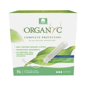 Organyc Organic Cotton Organic-Based Compact Applicator Tampons for Sensitive Skin, Super, 16CT