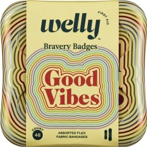 Welly Bravery Badges Flex Fabric Assorted Good Vibes Bandages - 48 CT