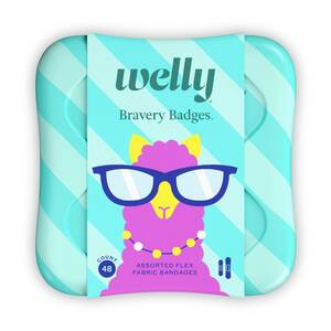 Welly Kids Bravery Badges Assorted Llama Flex Fabric Bandages - 48 CT