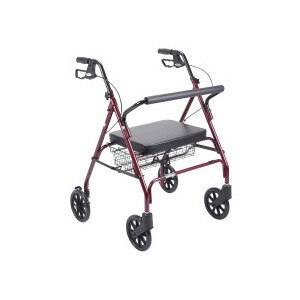 Drive Medical Heavy Duty Bariatric Walker Rollator with Large Padded Seat