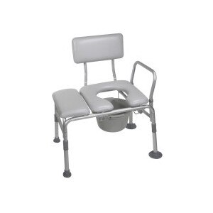Drive Medical Padded Seat Transfer Bench with Commode Opening Gray