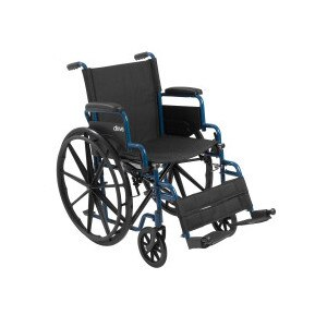 Drive Medical Blue Streak Wheelchair with Flip Back Detachable Desk Arms and Swing away Foot Rest