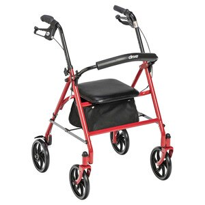 Drive Medical Four Wheel Fold Up Rollator Red