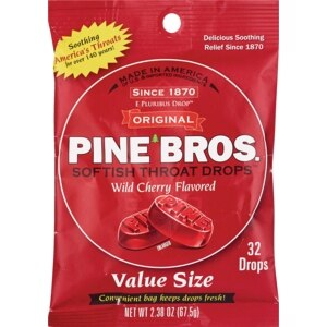 Pine Bros Softish Throat Drops Wild Cherry Flavored