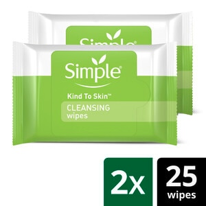 Simple Cleansing Facial Wipes, 25CT, Twin Pack
