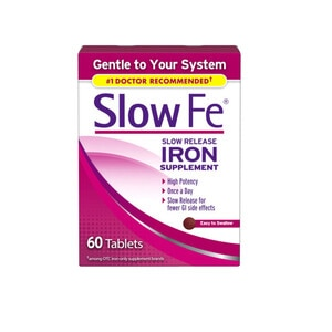 Slow Fe Iron Supplement Tablets for Iron Deficiency, Slow Release, High Potency, 60 CT