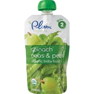 Plum Organics Spinach Peas & Pear Stage 2 Baby Food, 6mos +