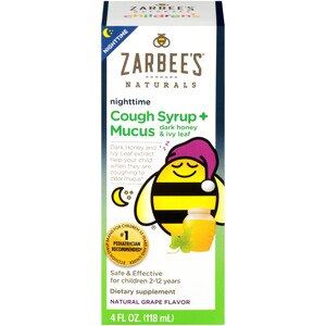 Zarbee's Naturals Children's Nighttime Cough Syrup & Mucus Reducer, Natural Grape Flavor