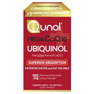 Qunol Mega 100mg CoQ10 Ubiquinol, Superior Absorption, Patented Water and Fat Soluble Natural Supplement Form of C0Q10, 60CT