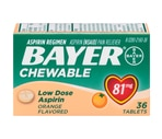 Bayer Low Dose 81 Mg Chewable Adult Low Strength Aspirin Tablets Orange