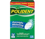 Polident Overnight Whitening Antibacterial Denture Cleanser, Triple Mint