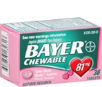 Bayer Low Dose 81 Mg Chewable Adult Low Strength Aspirin Tablets Cherry