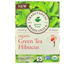 Traditional Medicinals Green Tea Bags Hibiscus, Case (6PK of 16CT/Total 96CT)