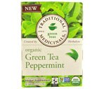 Traditional Medicinals Green Tea Bags Peppermint, Case (6PK of 16CT/Total 96CT)