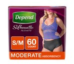 Depend Silhouette Active Fit* for Women Briefs Moderate Absorbency S/M, 60CT